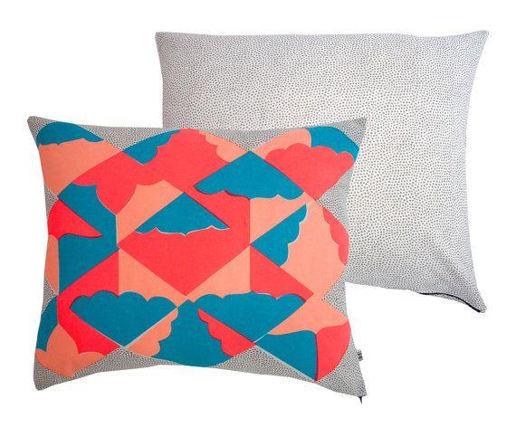 Kites - Screenprinted cotton cushion (turq, peach, flouro red) | Kangan Arora