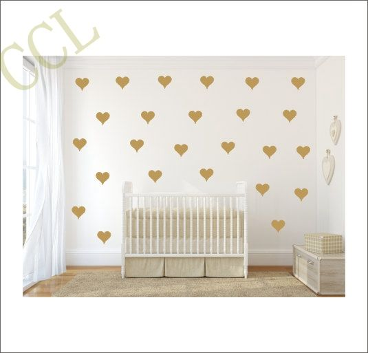 Free shipping set of Metallic Gold Heart shaped pattern vinyl wall decal stickers nursery art decor-in Wall Stickers from Home & Garden on Aliexpress.com | Alibaba Group
