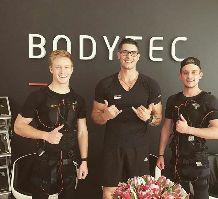 Personal Trainers Patrick and Gilbert at the BODYTEC Stellenbosch studio. #stellenbosch #winelands #trainers #mentors #coach #rugbyplayers #fitness #ems #strengthtraining #bodytecsa