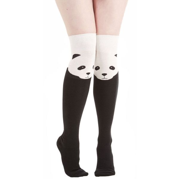 Darling Ex-Panda-ble Enjoyment Socks (£12) ❤ liked on Polyvore featuring intimates, hosiery, socks, tights, accessories, other, black, foundation, black knee socks y black socks