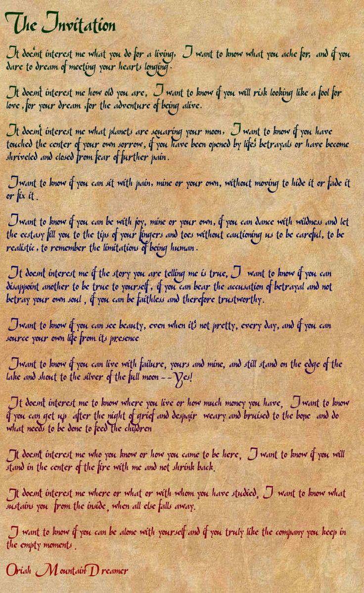 The Invitation Oriah Mountain Dreamer Poem Pdf Speak Low When