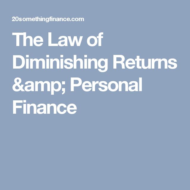 The Law of Diminishing Returns & Personal Finance