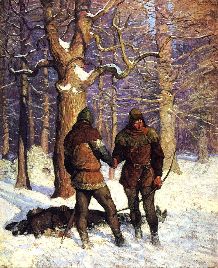 """But be at rest; the Black Arrow flieth nevermore"". Illustration by N. C. Wyeth"