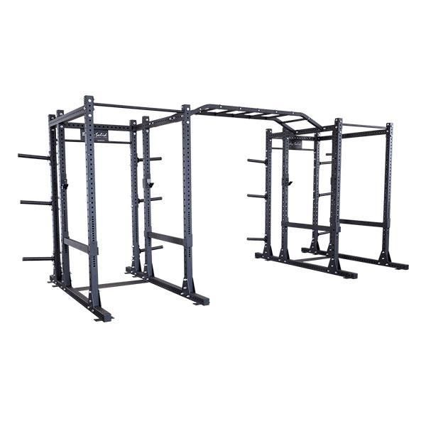 """Double Extended Package    Body-Solid's new SPR1000DBBack Commercial Double Extended Power Rack Package is the perfect start for any fitness facility.  This package includes two SPR1000Back commercial extended power racks. Each of these power racks feature  a 3"""" x 3"""" 11-gauge steel mainframe and 1000 lb weight capacities, meaning they will hold up even through the most strenuous of workouts."""