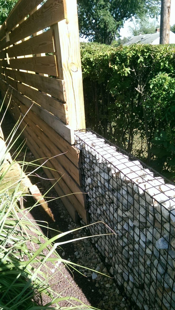 Gabionenwand Gabionenzaun Moderne Gartengestaltung Holz Hecke Sichtschutz Nachbarschaft