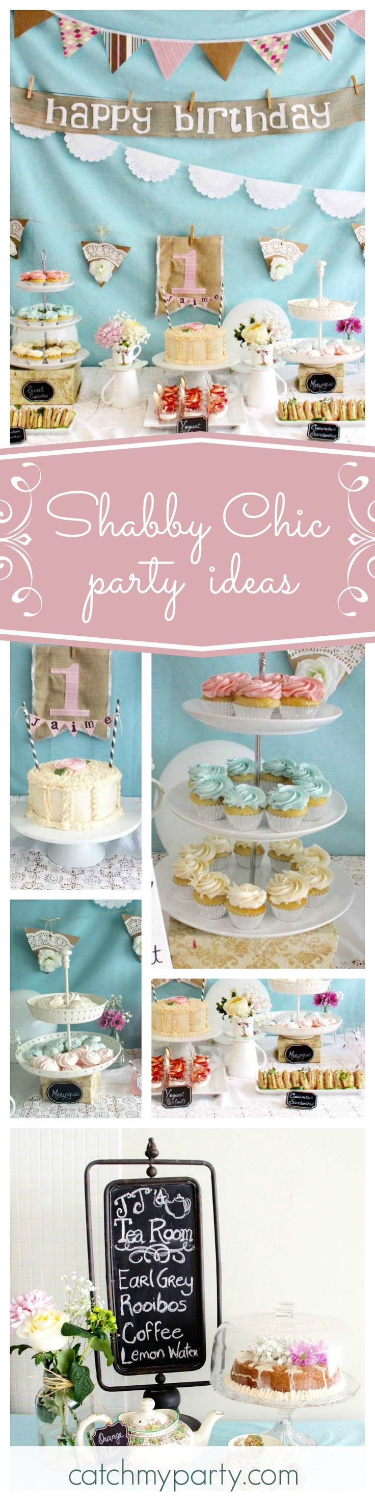 Dont Miss This Gorgeous Shabby Chic Birthday Party The Dessert Table Is Beautiful