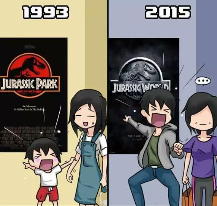 Jurassic park in 1993 and Jurassic World 2015 aka my reaction