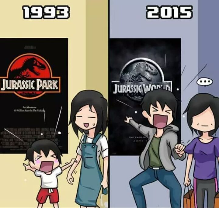 Jurassic park in 1993 and Jurassic World 2015