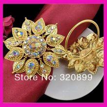 Цветочный кристалл ab горный хрусталь салфетка кольцо, держатели для салфеток в золото 100 шт./лот бесплатная доставка(China (Mainland))