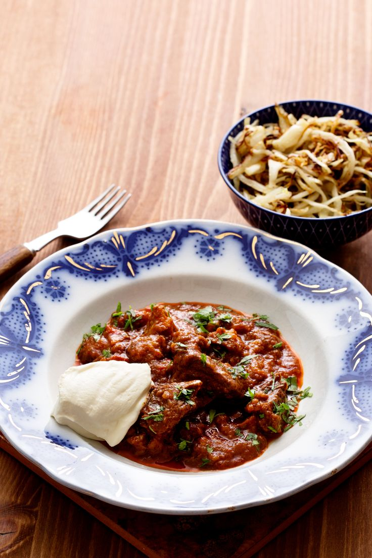 Goulash with Butter-Fried Cabbage ... leave off the sour cream