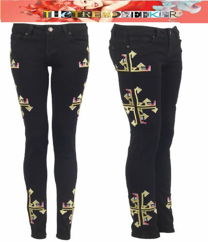 blinQ® Brand New Womens Ladies AW12 Cross Gothic Trend Jeans Denim 6 8 10 12 14