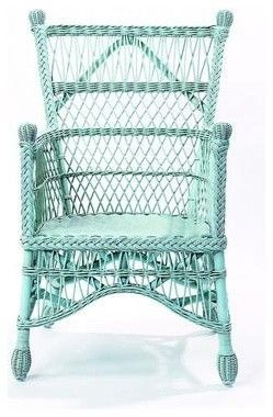 Antique Blue Wicker Chair, what character! They don't have to be white to look traditional