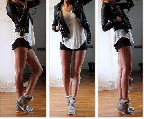 Leather jacket and shorts
