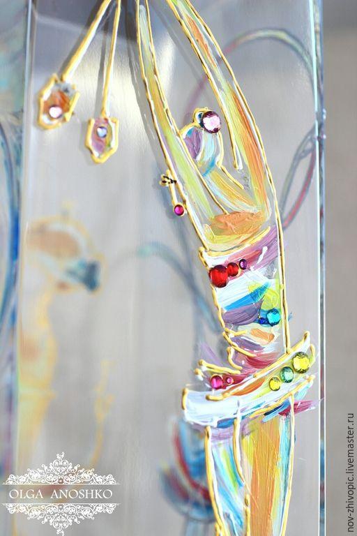"""Купить Ваза """"Гимнастки"""". Роспись по стеклу. - ваза, ваза для цветов, ваза декоративная, ваза стеклянная"""
