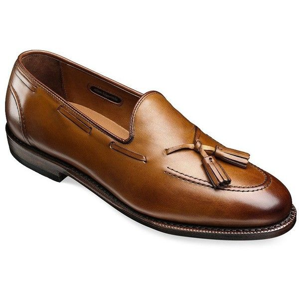 Allen Edmonds Acheson Tassel Leather Loafers ($395) ❤ liked on Polyvore featuring men's fashion, men's shoes, men's loafers, walnut, mens tassel loafer shoes, mens loafer shoes, mens tassel shoes, mens leather shoes and mens leather loafer shoes