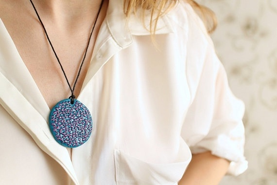Blue pendant with pink dots polymer clay pendant by visska on Etsy.