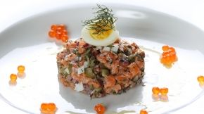 Such a treat but so delicious : Salmon tartare with lime mayonnaise and salmon caviar by Chelsea Winter