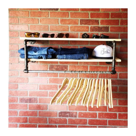 34 inch industrial Clothing Rack and Double Shelf - Closet Organizer - Laundry Room Shelf - Clothes Hanger - Rustic