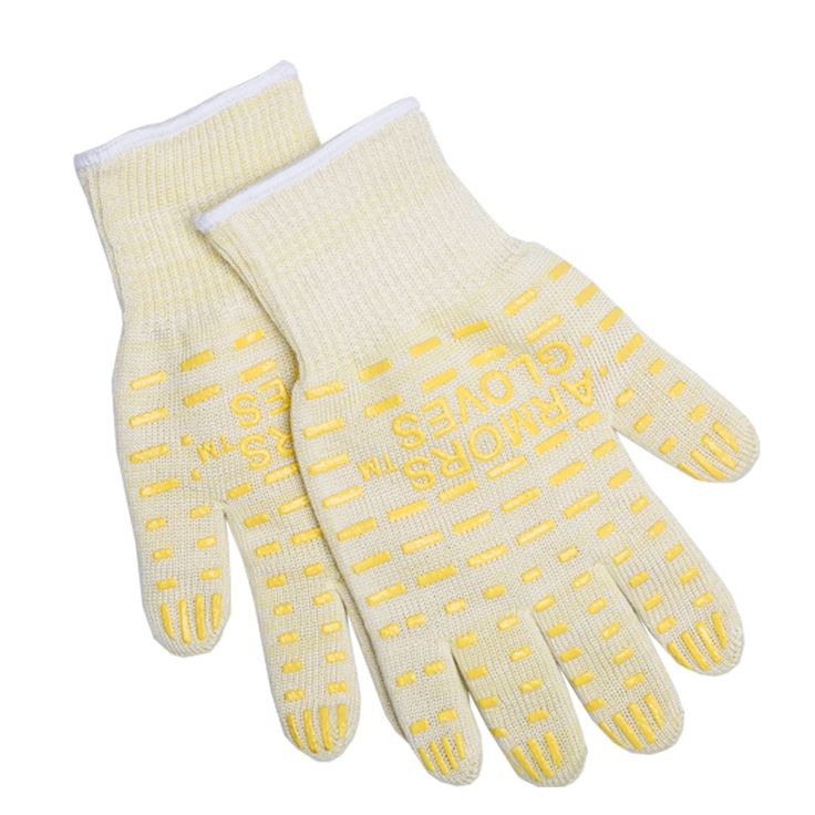 Armors 932°F Extreme Heat Resistant Kitchen BBQ Gloves Oven Mitts For Cooking Grilling or Baking EN407 Certified(One Size Fits Most, Yellow)