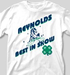 IZA DESIGN custom 4H shirts.  4-H Club Shirt Design - Best In Show cool-60b1.  Specializing in custom 4 H tshirts since 1987!