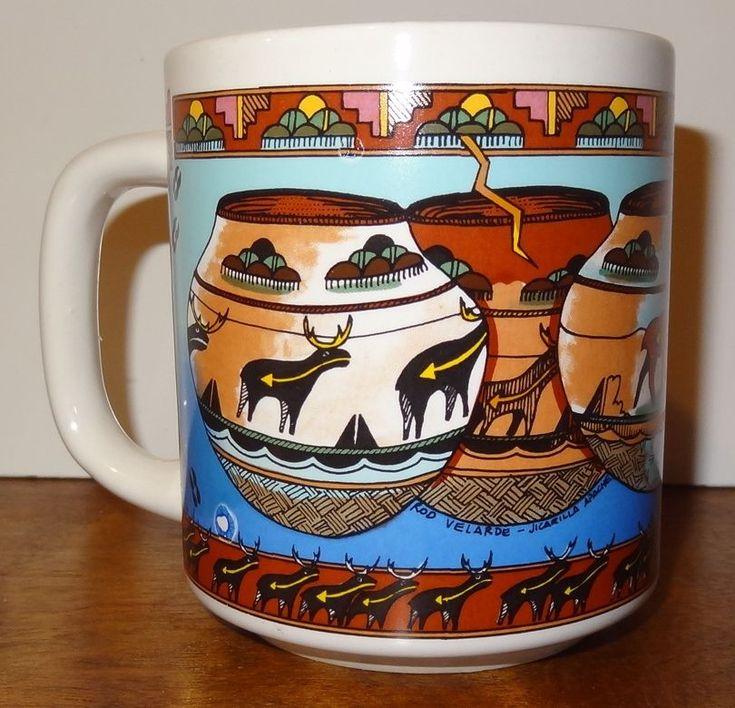 Basket and animal mug / cup. Brown and blue colors. Rod Velarde Jicarilla Apache. Theme: Baskets and animals. Item: Coffee Mug / Cup. Color: Blue, Brown. | eBay!