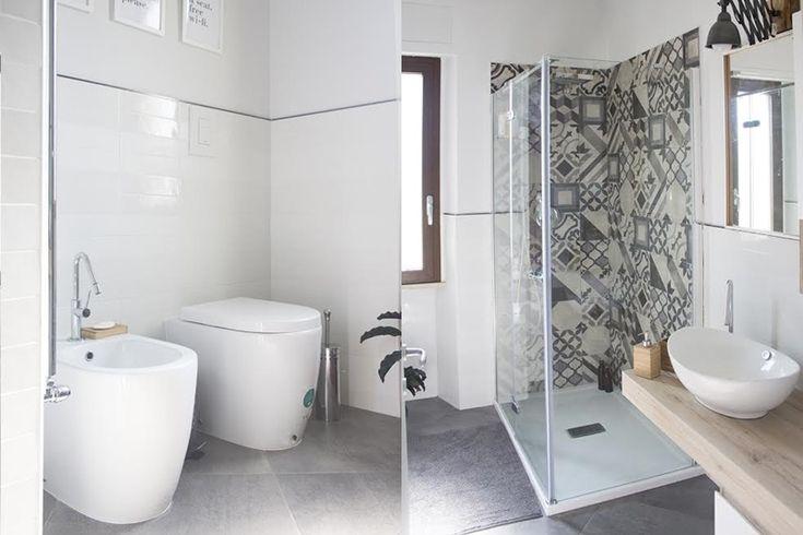 Bagno minimal con piastrelle con decoro geometrico