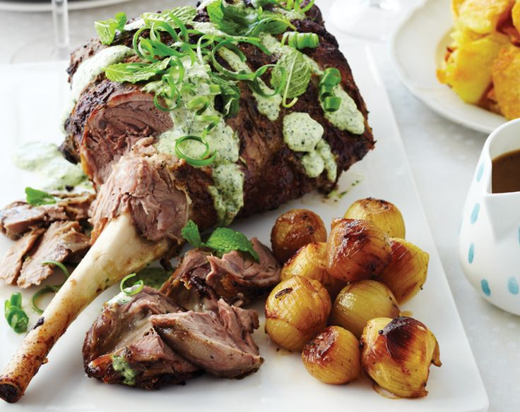 Marinated Roast Lamb with Fresh Mint Topping - With lots of fresh flavours added to the mix it'll be a meal like no other (Chelsea Winter)