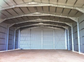 Open ended farm shed for hay storage