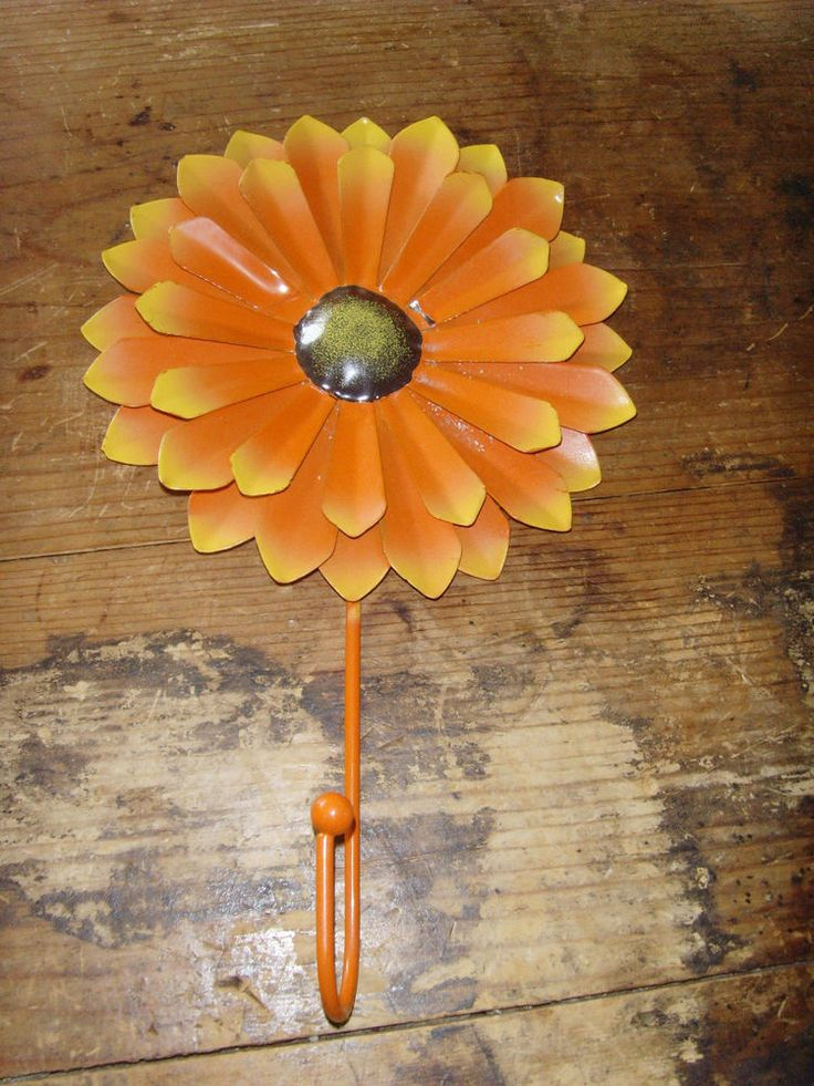 Orange daisy decorative metal hook groovy vintage reproduction chic funky decor
