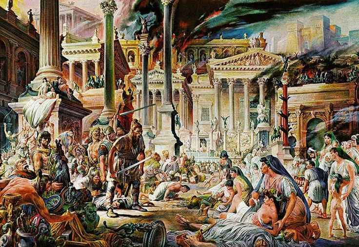 Alaric and the Visigoths plunder Rome in 410 AD