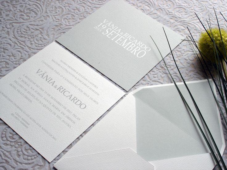Convite moderno e original com tons de cinza, modern grey wedding invitation