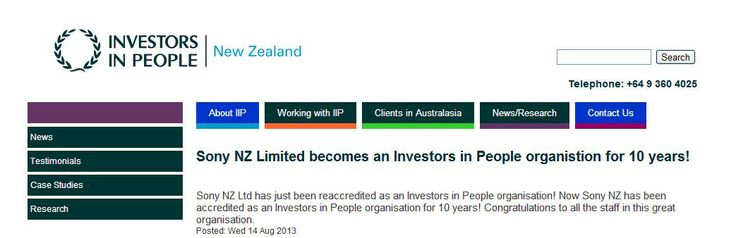 Sony New Zealand - an Investor in People for 10 years