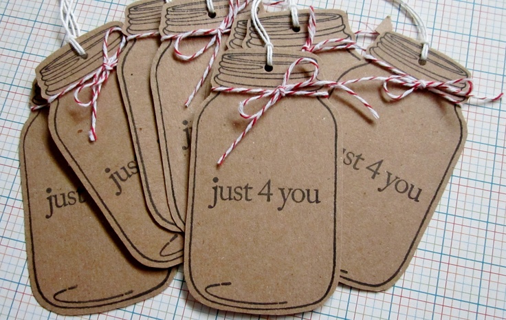 8 Mason Jar Stamp Tags Handstamped on Kraft Cardstock with Red and White Baker's Twine - Just 4 You. $2.50, via Etsy.