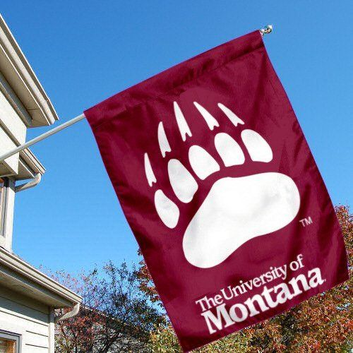 University of Montana Grizzlies Griz House Flag by College Flags and Banners Co.. $23.95. Officially Licensed by University of Montana. Viewable and Readable Correctly on Both Sides. Single-Ply Polyester Material with 2-Ply Double Sided Bottom Panel. 30 (w) x 40 (h) Inches in Size with Top Pole Sleeve. School Logos are Screen Printed into Material. University of Montana Grizzlies Griz House Flag is 30x40 inches in size, is made of single-ply polyester with double-sided botto...