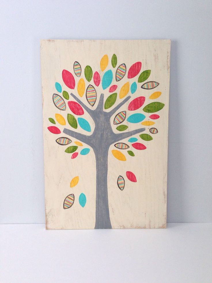 Large Hand Painted Tree on Wood, Whimsical Girls Wall Art, Rustic Nursery Decor, Pink Aqua Yellow Girls Nursery, Woodland Art, Wooden Sign by SweetBananasArt on Etsy https://www.etsy.com/listing/181944965/large-hand-painted-tree-on-wood