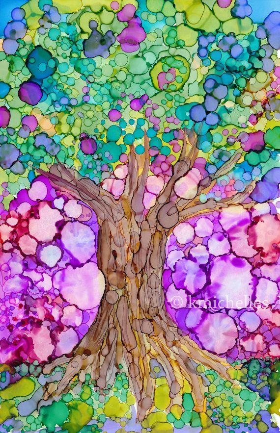 "Tree of Life, Original Alcohol Ink Painting 6x9"" Art"