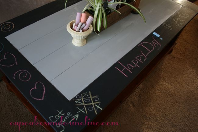 Chalkboard Coffee Table using Mod Podge Outdoor as a sealer | Cupcakes & Crinoline
