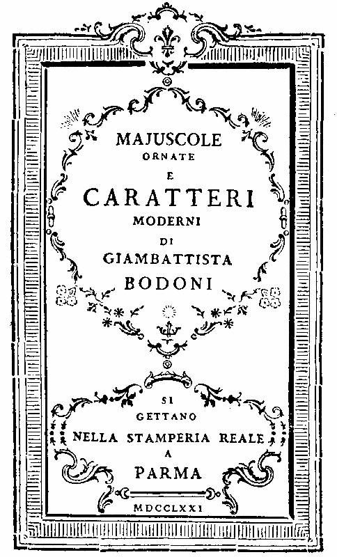 Giambattista Bodoni, title page from Saggio tipografico (Typographic Essay), 1771. The tremendous influence of Fournier le Jeune upon Bodoni's earlier work is evident in this page design.