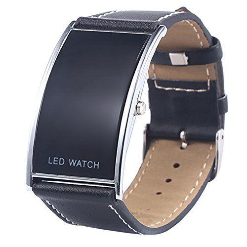 Männer Fraun Bogen-Form LED Digital Datumsanzeige Kunstleder Armband Trend Uhr