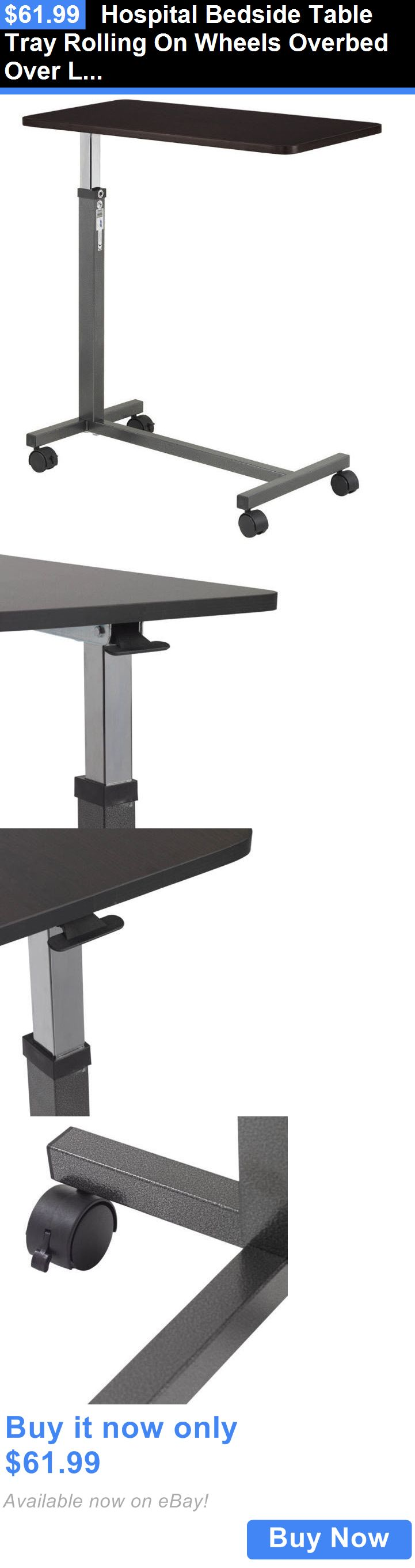 Other Mobility and Disability: Hospital Bedside Table Tray Rolling On Wheels Overbed Over Laptop Adjustable BUY IT NOW ONLY: $61.99