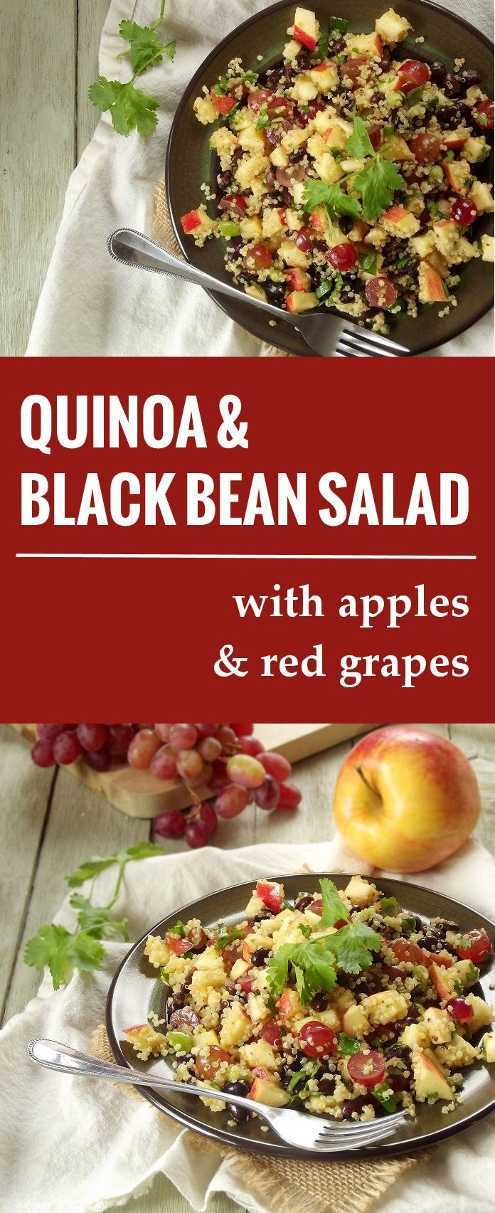 Quinoa Salad with Black Beans, Apples and Red Grapes   Book Review: Broccoli, Love and Dark Chocolate