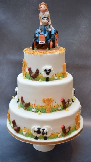 A Rural Themed Wedding Cake For This Farmer Groom And Bride Ens Sheep Ducks S In Colour Sch Cow Cakeore