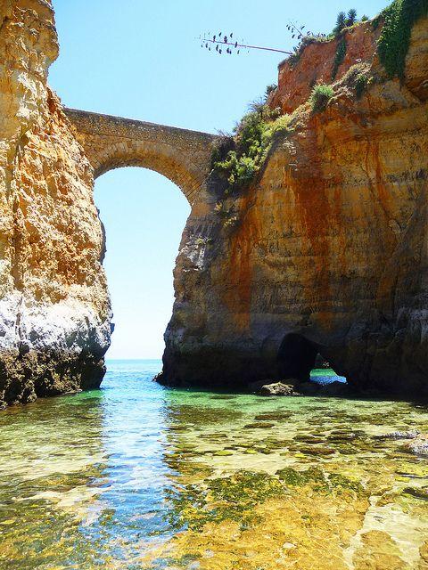 Beach - bridge connecting 2 cliffs - Lagos, Algarve, Portugal~ #portugal #algarve #playadelagos
