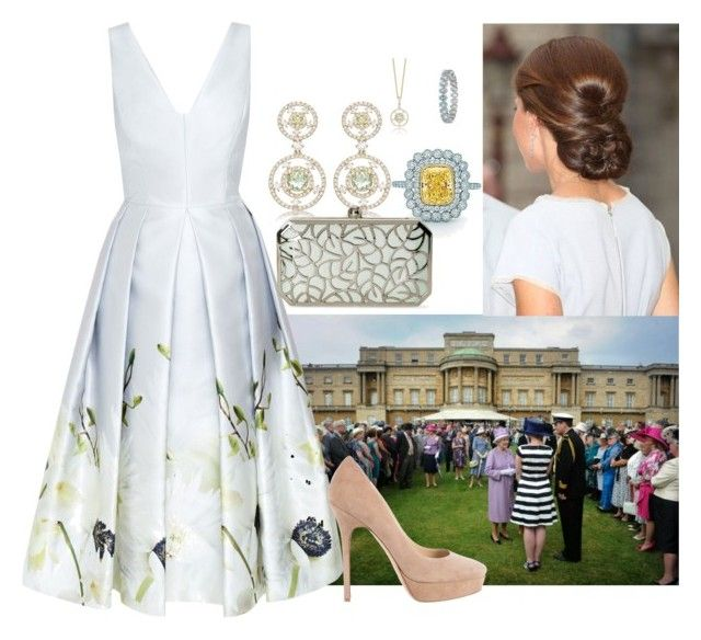 HRH Princess Emily attending annual Palace Garden Party by kingdomofborduria on Polyvore featuring polyvore fashion style Ted Baker Jimmy Choo La Regale Blue Nile clothing