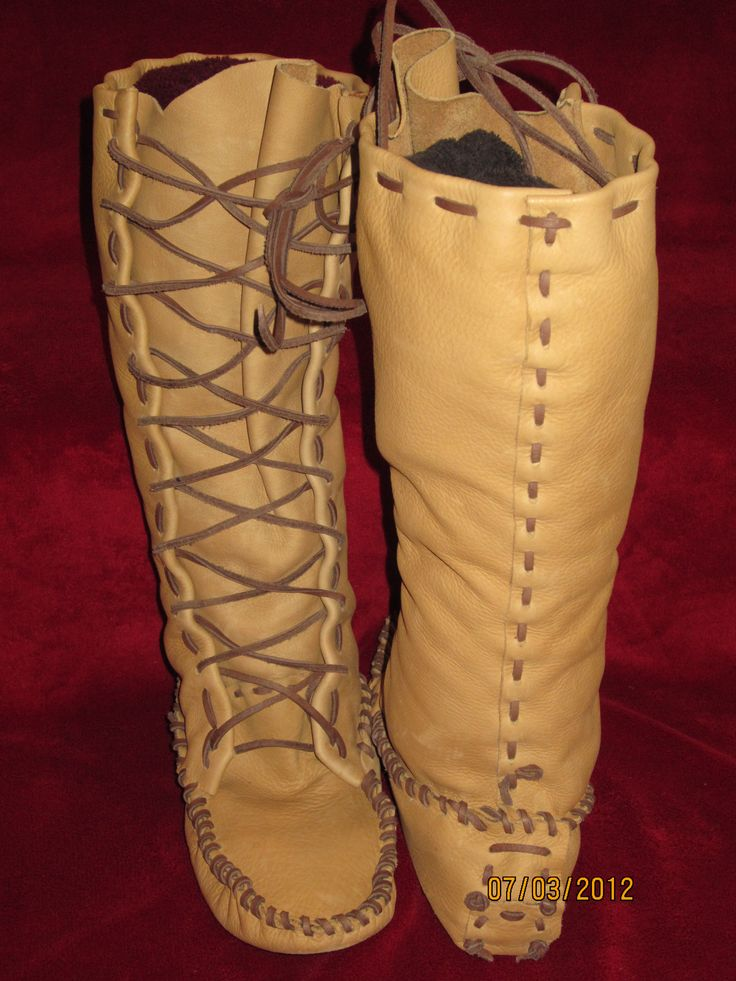leather moccasin patterns | Patterns Leather Moccasin Buckskin Plainsman Boots Pictures