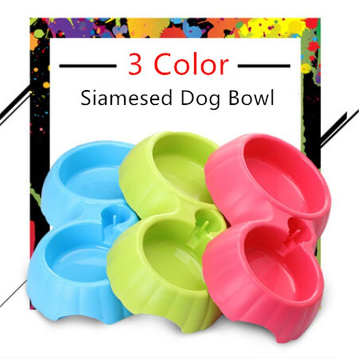 2016 New Pet Double Dog Food Bowl Plastic Automatic Water Trough Platos Para Cachorro Colored Cat Puppy Feeding Bottle BBM4X4