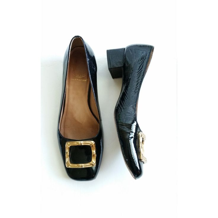 Vintage 1980s 80s Lilly Pulitzer Patent Black Gold Leather Low Heels Square Closed Toe Shoes Flats Sz 6.5 M