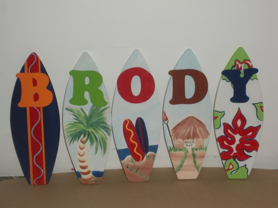 1ft nursery beach surf surfboard wall name letter art signs personalized intro Sale order today