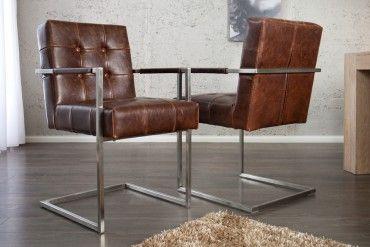 freischwinger stuhl colombo mit armlehnen in echt leder dark coffee edelstahl gestell ideas. Black Bedroom Furniture Sets. Home Design Ideas