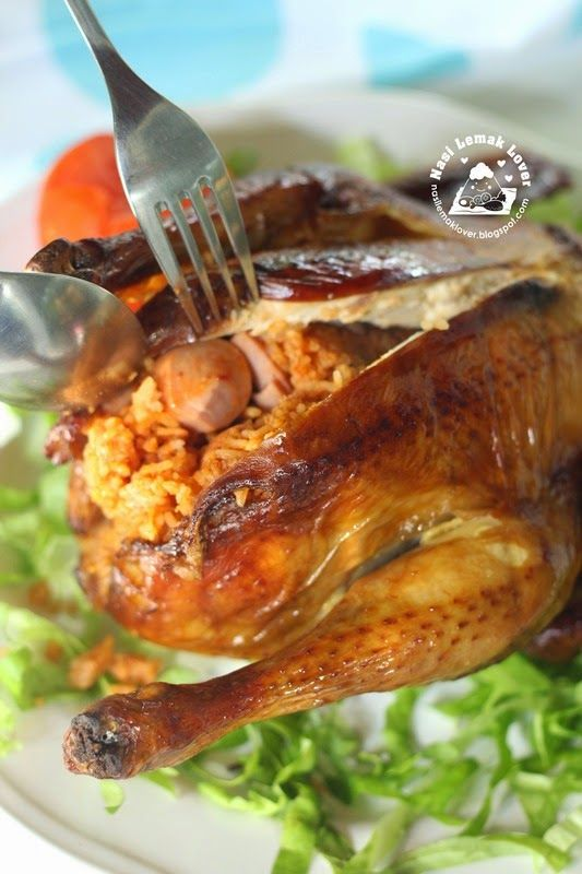 Nasi Lemak Lover: Roasted Chicken stuffed with Tomato rice 烤鸡酿番茄饭